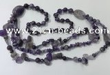 CGN680 23.5 inches chinese crystal & amethyst beaded necklaces