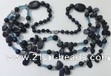 CGN683 23.5 inches chinese crystal & blue goldstone beaded necklaces