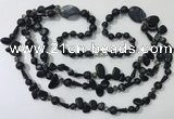 CGN687 23.5 inches chinese crystal & black agate beaded necklaces