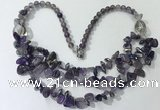 CGN697 22.5 inches chinese crystal & amethyst beaded necklaces