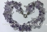 CGN710 22 inches fashion 3 rows amethyst beaded necklaces