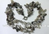 CGN713 22 inches fashion 3 rows grey agate beaded necklaces