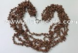 CGN731 19.5 inches stylish 6 rows goldstone chips necklaces