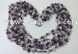 CGN734 19.5 inches stylish 6 rows amethyst & rose quartz chips necklaces