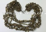 CGN747 19.5 inches stylish 8 rows yellow tiger eye chips necklaces