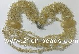 CGN757 20 inches stylish 6 rows citrine chips necklaces