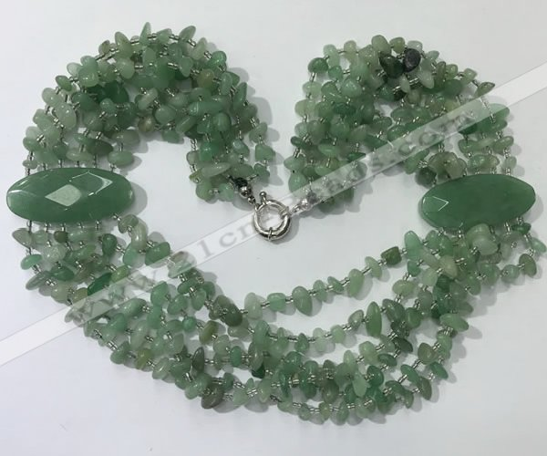 CGN765 20 inches stylish 6 rows green aventurine chips necklaces