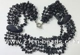 CGN767 20 inches stylish 6 rows blue goldstone chips necklaces