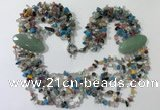 CGN770 20 inches stylish 6 rows mix gemstone chips necklaces