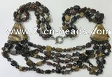 CGN791 23.5 inches stylish mixed tiger eye nuggets necklaces
