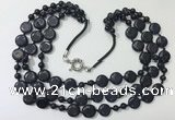 CGN801 23.5 inches stylish 3 rows round & coin blue goldstone necklaces