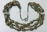 CGN802 23.5 inches stylish 3 rows round & oval unakite necklaces