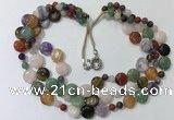 CGN803 23.5 inches stylish 3 rows round & coin mixed gemstone necklaces