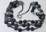 CGN806 23.5 inches 3 rows chinese crystal & blue goldstone necklaces
