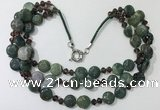 CGN807 23.5 inches 3 rows chinese crystal & Indian agate necklaces