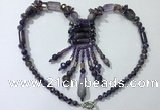 CGN811 19.5 inches chinese crystal & amethyst statement necklaces