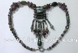 CGN815 19.5 inches chinese crystal & Indian agate statement necklaces