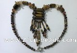 CGN816 19.5 inches chinese crystal & yellow tiger eye statement necklaces