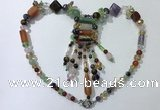 CGN818 19.5 inches chinese crystal & mixed gemstone statement necklaces