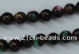 CGO01 15.5 inches 4mm round gold multi-color stone beads