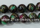 CGO04 15.5 inches 10mm round gold multi-color stone beads