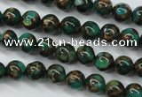 CGO100 15.5 inches 4mm round gold green color stone beads