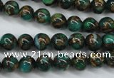CGO102 15.5 inches 8mm round gold green color stone beads