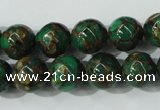 CGO104 15.5 inches 12mm round gold green color stone beads