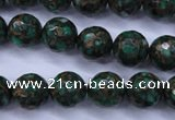 CGO114 15.5 inches 12mm faceted round gold green color stone beads