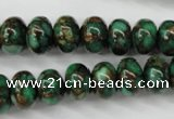 CGO122 15.5 inches 8*12mm rondelle gold green color stone beads
