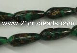 CGO135 15.5 inches 8*20mm faceted teardrop gold green color stone beads