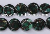 CGO140 15.5 inches 12mm flat round gold green color stone beads