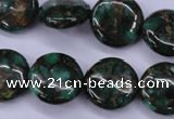 CGO142 15.5 inches 16mm flat round gold green color stone beads