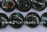 CGO144 15.5 inches 20mm flat round gold green color stone beads