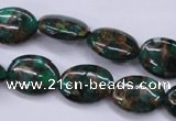 CGO146 15.5 inches 10*14mm oval gold green color stone beads