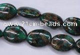 CGO147 15.5 inches 12*16mm oval gold green color stone beads