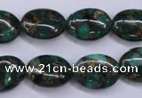 CGO148 15.5 inches 13*18mm oval gold green color stone beads