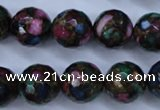 CGO18 15.5 inches 18mm faceted round gold multi-color stone beads