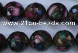 CGO19 15.5 inches 20mm faceted round gold multi-color stone beads