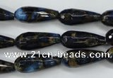 CGO193 15.5 inches 8*20mm faceted teardrop gold blue color stone beads