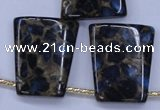 CGO215 Top-drilled 22*28mm trapezoid gold blue color stone beads