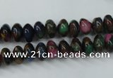 CGO22 15.5 inches 8*12mm rondelle gold multi-color stone beads