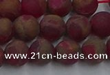 CGO253 15.5 inches 10mm round matte gold multi-color stone beads