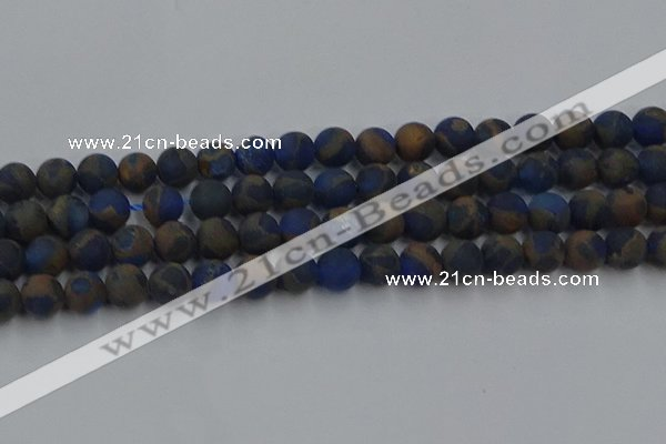 CGO263 15.5 inches 10mm round matte gold multi-color stone beads