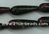 CGO28 15.5 inches 8*20mm teardrop gold multi-color stone beads