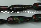 CGO30 15.5 inches 12*40mm teardrop gold multi-color stone beads