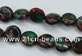 CGO32 15.5 inches 12mm flat round gold multi-color stone beads