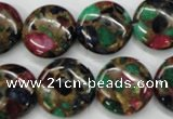 CGO35 15.5 inches 18mm flat round gold multi-color stone beads