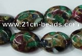 CGO38 15.5 inches 10*14mm oval gold multi-color stone beads