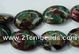 CGO40 15.5 inches 13*18mm oval gold multi-color stone beads